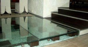 Конструкция стеклянного пола для прихожей